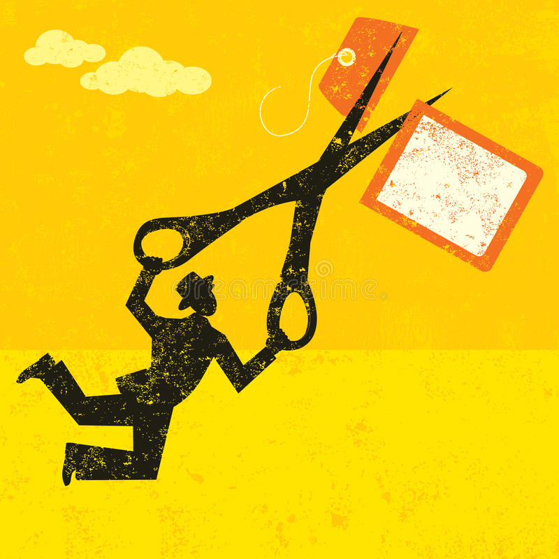 Cutting High Prices. A businessman cutting a high price tag with large scissors over an abstract sky with clouds. The man, scissors and price tag are on a vector illustration