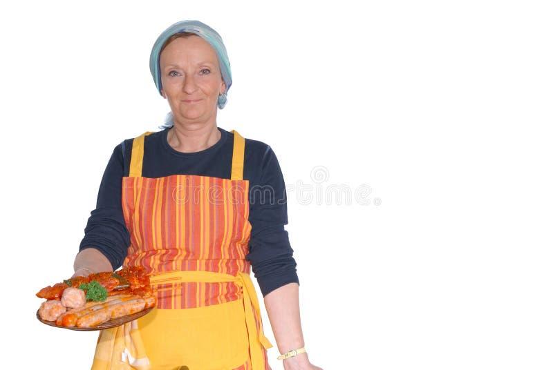 cutting housewife meat στοκ εικόνα με δικαίωμα ελεύθερης χρήσης