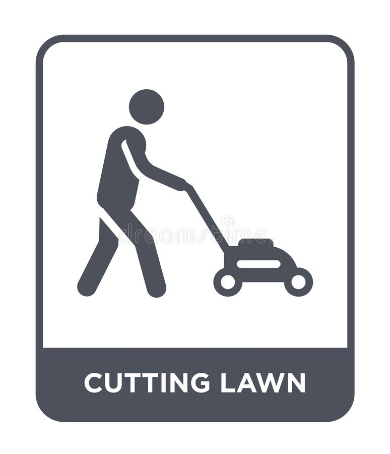 cutting lawn icon in trendy design style. cutting lawn icon isolated on white background. cutting lawn vector icon simple and vector illustration