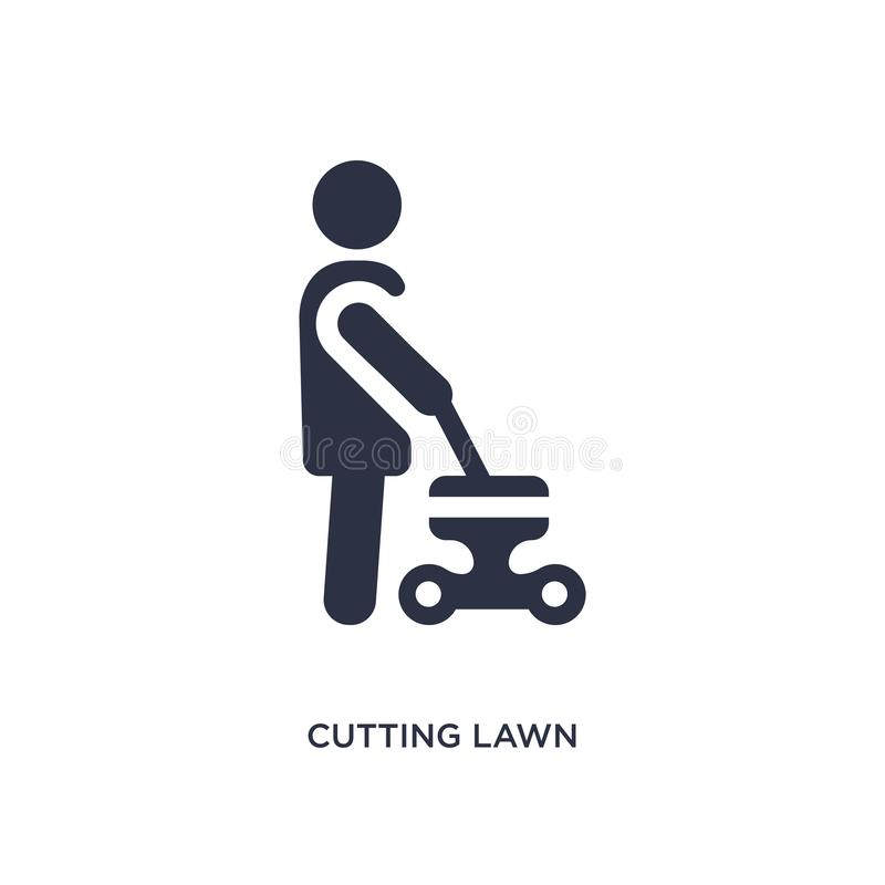 cutting lawn icon on white background. Simple element illustration from behavior concept royalty free illustration