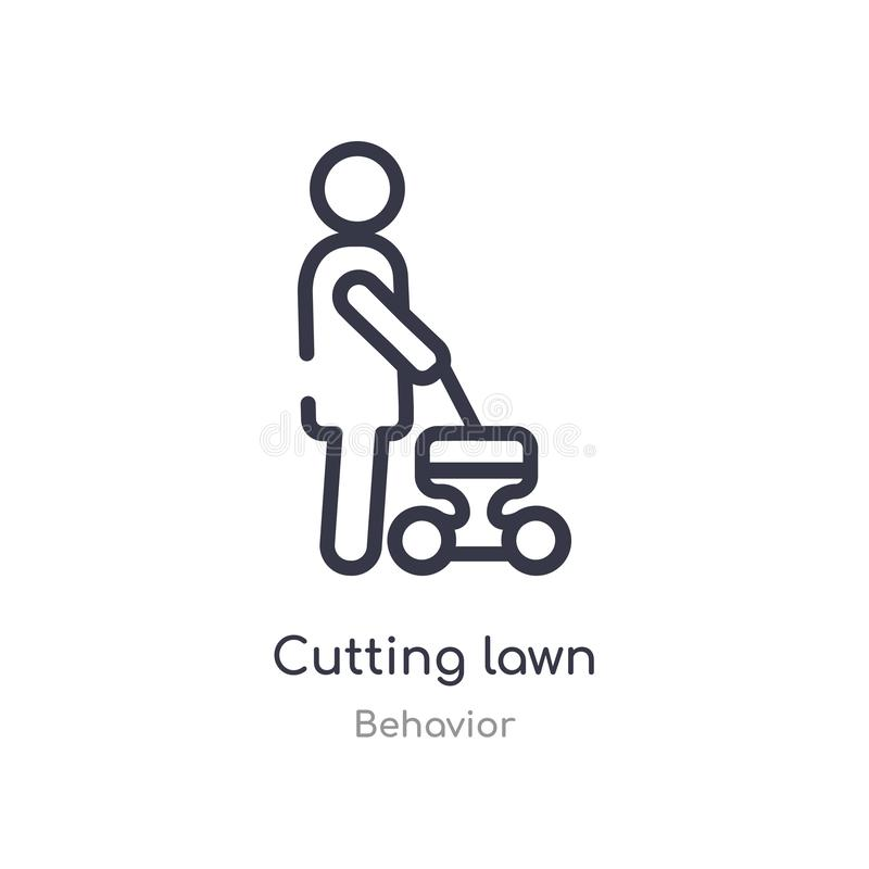 Cutting lawn outline icon. isolated line vector illustration from behavior collection. editable thin stroke cutting lawn icon on. White background royalty free illustration