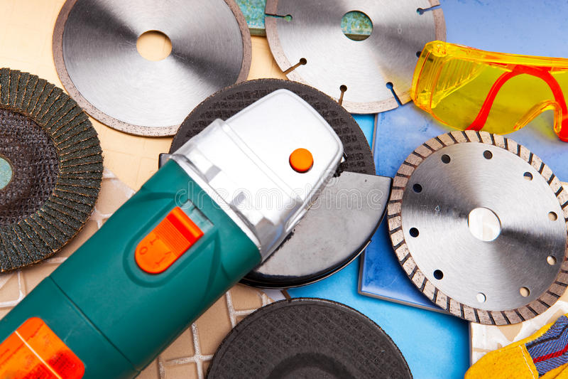 The Cutting Machine And Various Detachable Disks Stock Photo