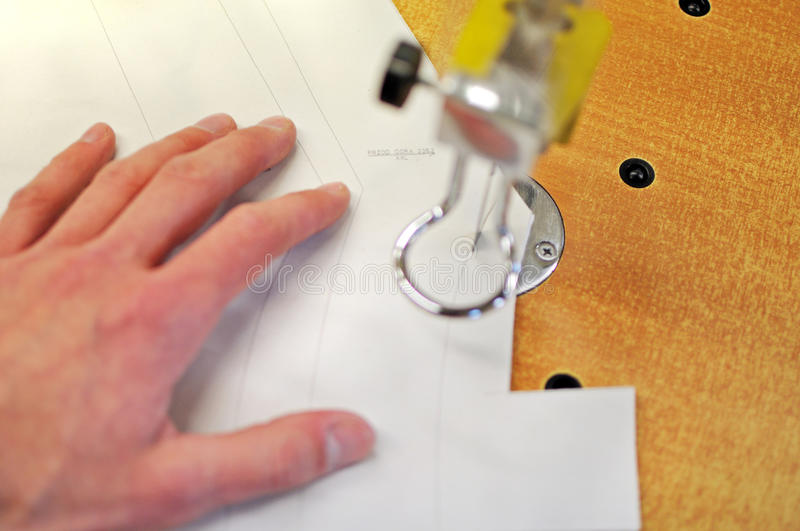 Cutting. Manufacture of wearing apparel-cutting elements royalty free stock image