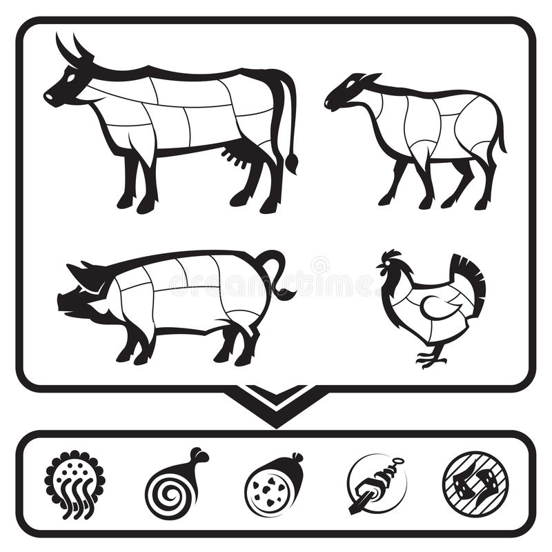 Download Cutting meat stock vector. Illustration of meat, lamb - 27184915