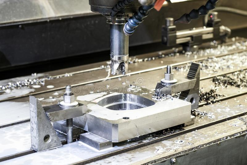 Precision industrial CNC machining of metal detail by mill at fa royalty free stock images