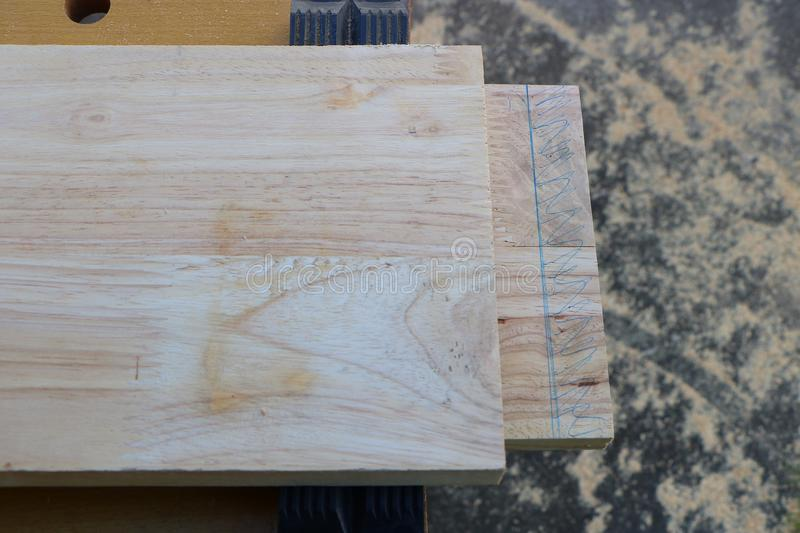 Making mortise and tenon joint with chisel. Cutting mortise and tenon joint with chisel stock images