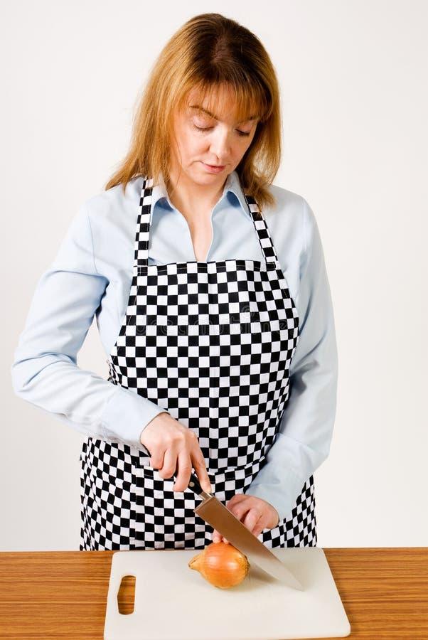 Cutting onion stock photo