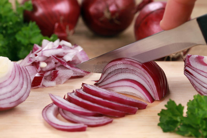 Cutting onions royalty free stock image