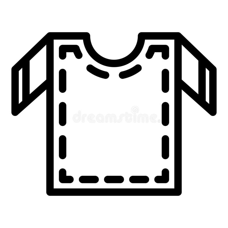 Cutting out sewing shirt icon, outline style. Cutting out sewing shirt icon. Outline cutting out sewing shirt vector icon for web design isolated on white royalty free illustration