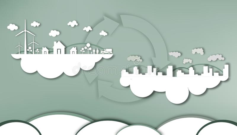 Cutting paper - Energy saving from the capital city and the pristine air of the community royalty free illustration