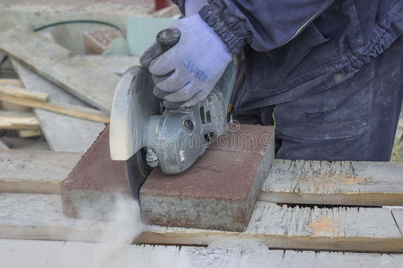 Cutting Pavings Stones royalty free stock photo