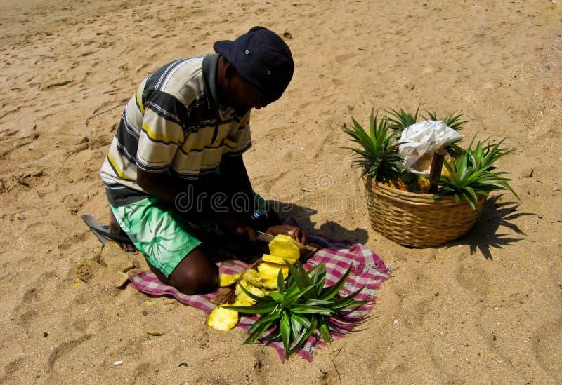 Cutting Pineapple stock photo