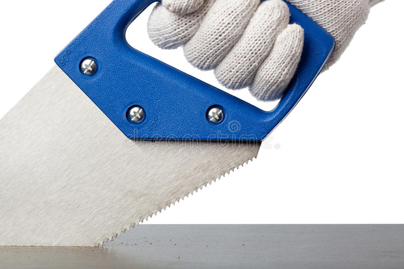 Cutting A Plank Of Wood Royalty Free Stock Images