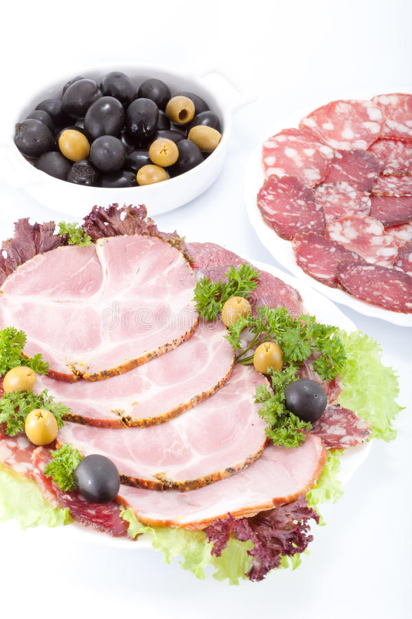 Download Cutting Sausage And Meat On A Table. Stock Photo - Image: 21313656