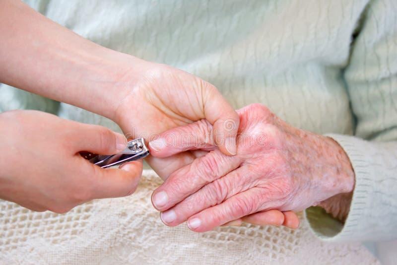 Cutting Senior lady's nails stock images