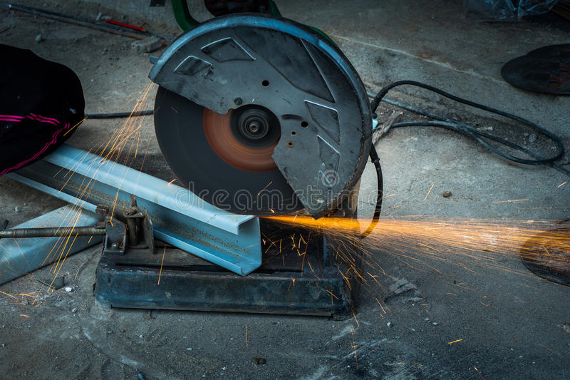 Cutting steel with machine stock photos