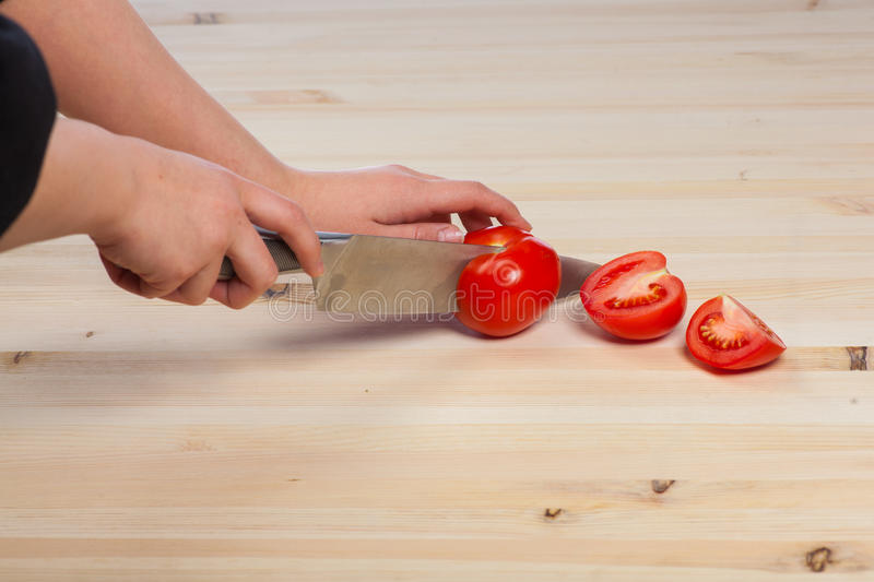 Download Cutting Tomatoes For Dishes On The Table. Vegetables During The Cooking Process Dishes. Vegetables For Healthy Eating Stock Image - Image: 88291693