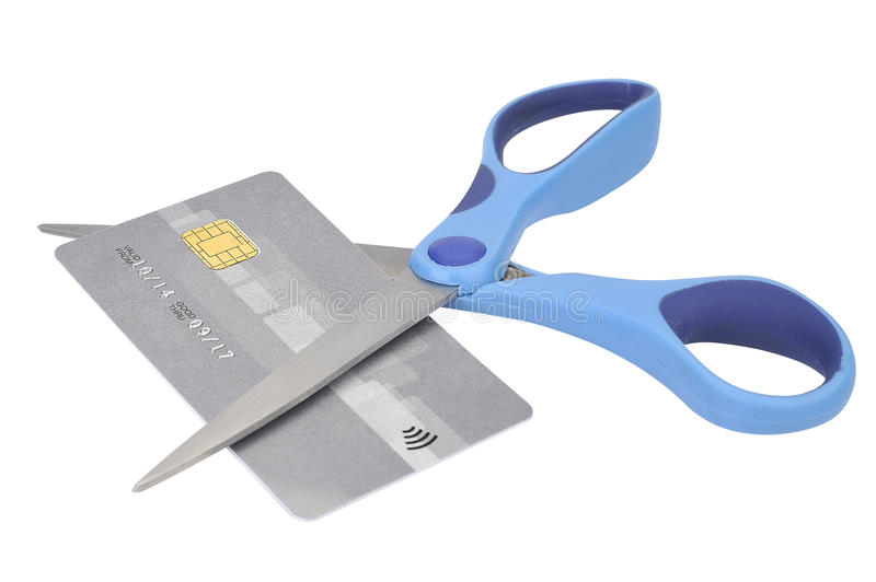 Cutting up Credit Card With Scissors stock photos