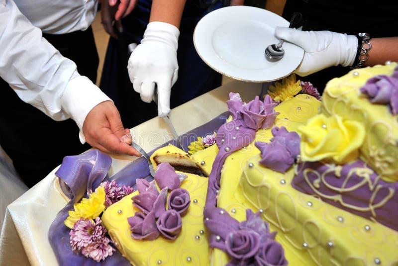 Cutting Wedding Cake stock photo