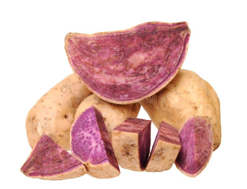 Cutting and whole purple sweet potato. Isolated on white background royalty free stock photo