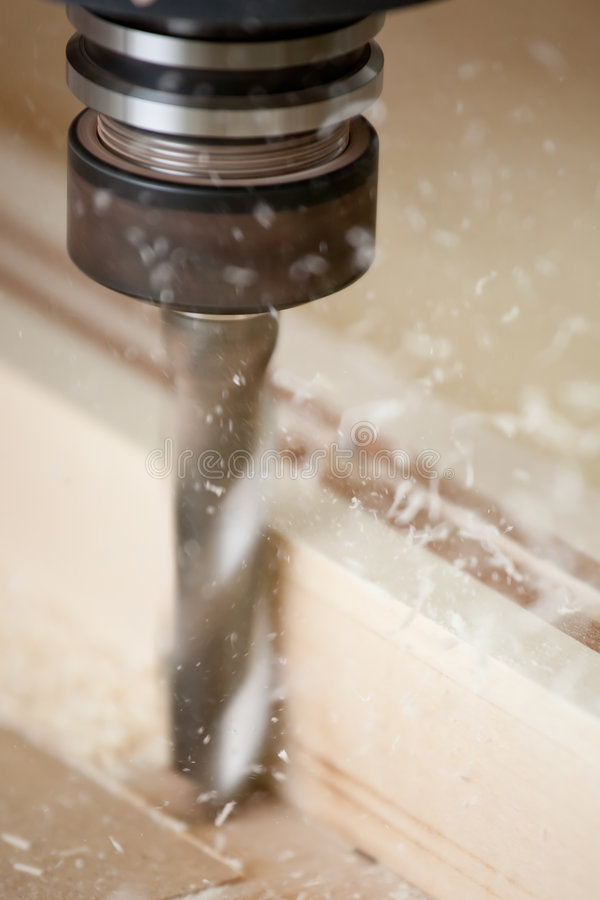 Cutting wood on CNC milling royalty free stock photos