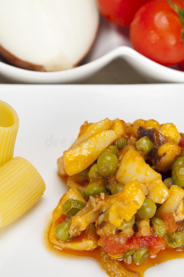 Cuttlefish and peas. Pasta with cuttlefish and peas royalty free stock photos