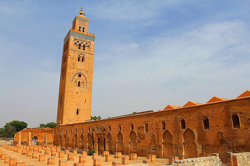 Cutubia mosque from marrakech morocco. There is a mosque as named cutubia mosque and brown building from marrakech in morocco royalty free stock photo