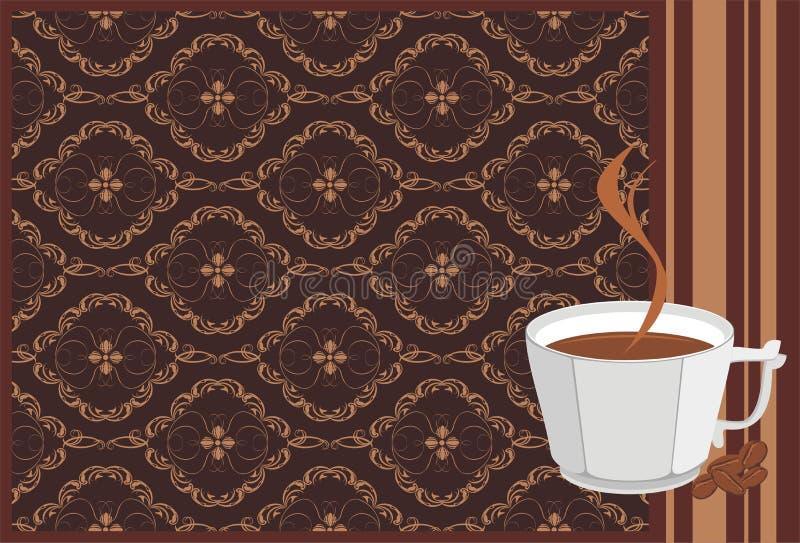 Cuvette avec du café et des grains. Drapeau décoratif illustration libre de droits