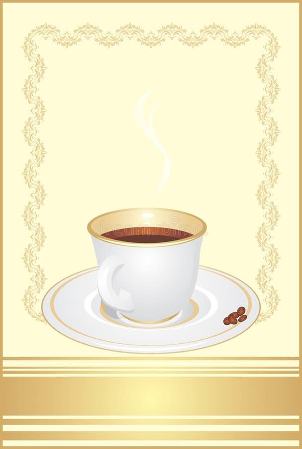 Cuvette avec du café et des grains. Fond décoratif illustration stock