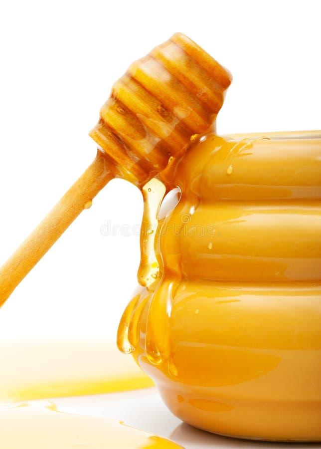 Cuvette avec du miel et le plongeur en bois photographie stock