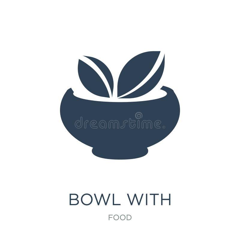 cuvette avec l'icône de légumes dans le style à la mode de conception cuvette avec l'icône de légumes d'isolement sur le fond bla illustration de vecteur