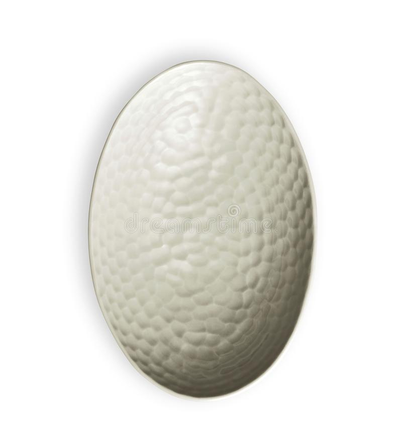 Cuvette blanche avec le modèle approximatif, cuvette en céramique vide dans la forme ovale, vue d'en haut d'isolement sur le fond images stock