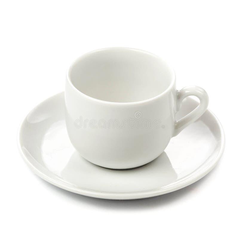 Cuvette blanche d'isolement sur le fond blanc Tasse de café vide au-dessus de wh photos stock