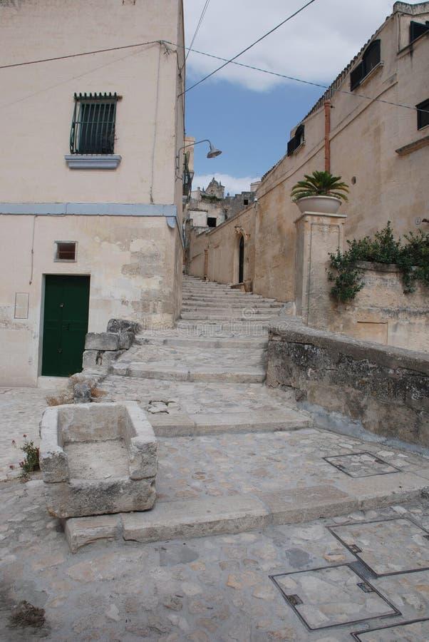 Cuvette de bétail dans Caveoso Sassi, Matera images stock
