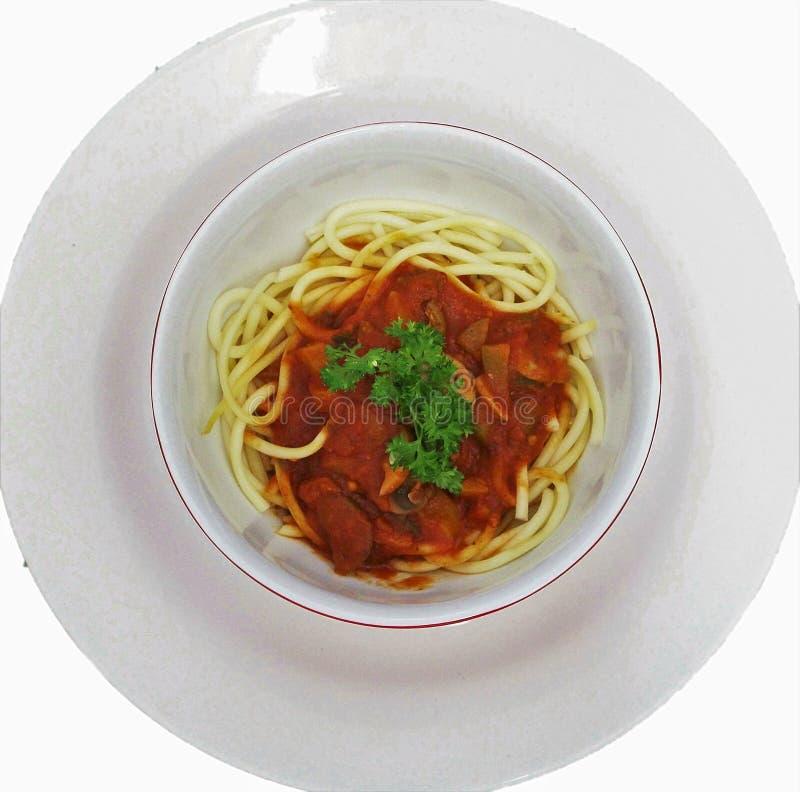 Cuvette de Bolonais de spaghetti image stock