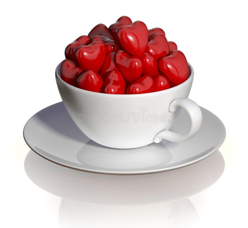 Cuvette de café avec des coeurs. illustration de vecteur