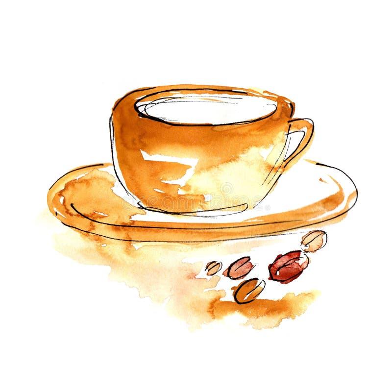 Cuvette de café avec des coffeebeans illustration stock