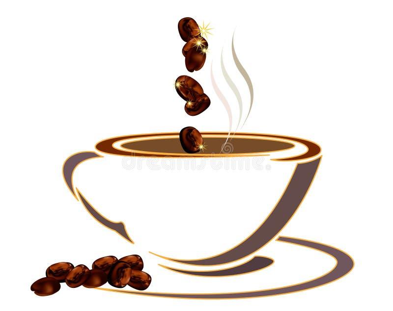 Cuvette de café avec des haricots illustration stock