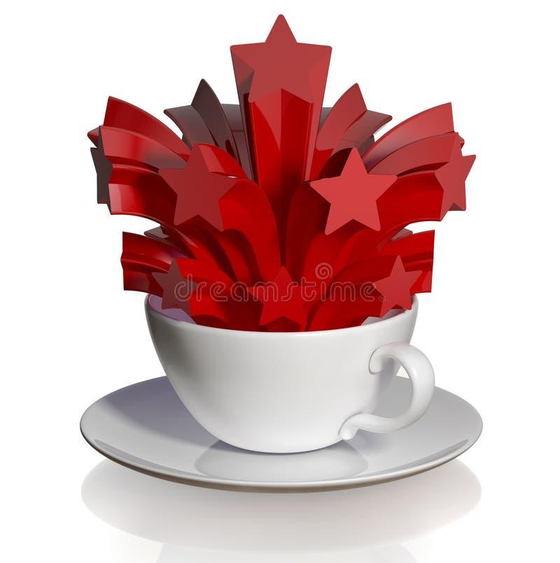 Cuvette de café avec le salut rouge. illustration de vecteur