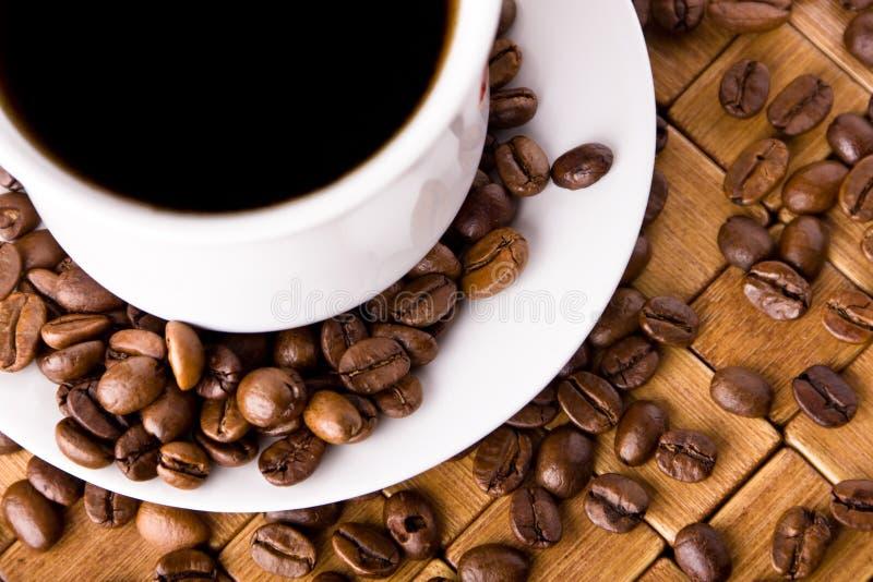 Cuvette de café avec les haricots frais de coffe image libre de droits