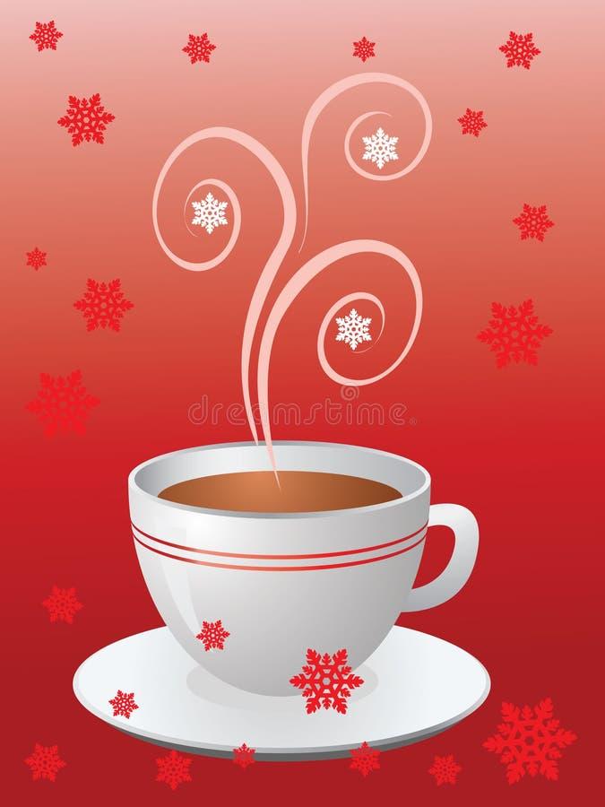 Cuvette de café chaude sur le rouge illustration libre de droits