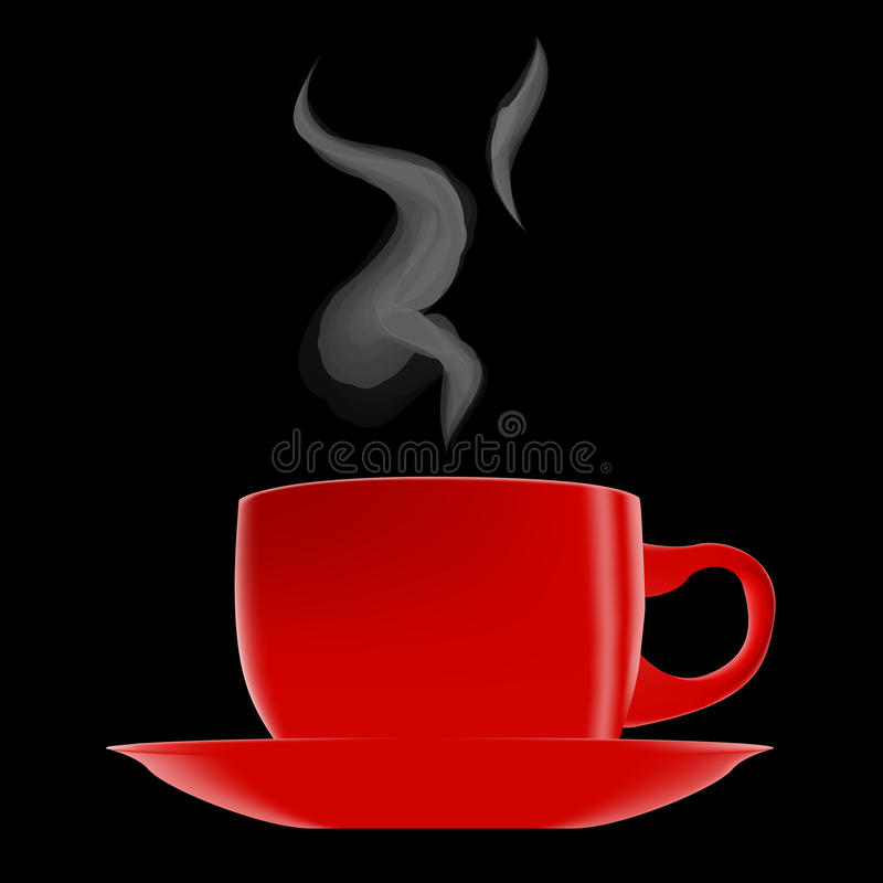 Cuvette de café d'un rouge ardent illustration stock