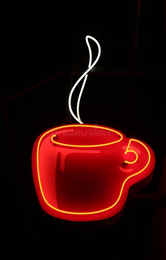 Cuvette de café de signe au néon images libres de droits