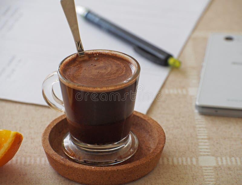 Cuvette de café express de café Temps de coupure photographie stock