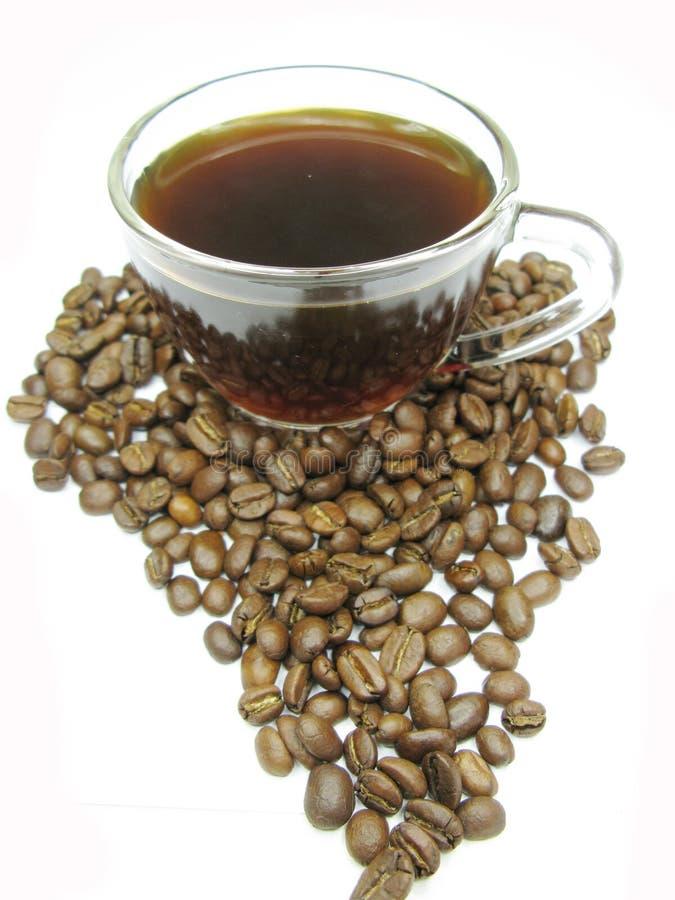 Cuvette de café noir parmi la forme de l'Afrique d'haricots image libre de droits