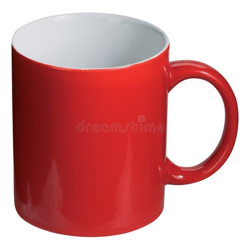 Cuvette de café rouge d'isolement image libre de droits