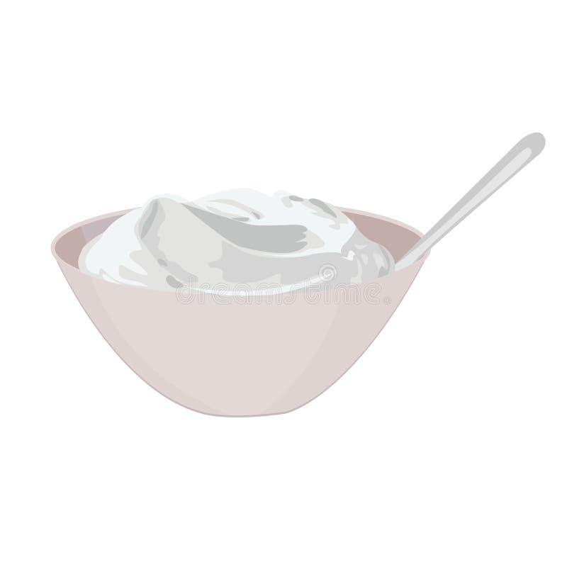 Cuvette de crème aigre illustration de vecteur