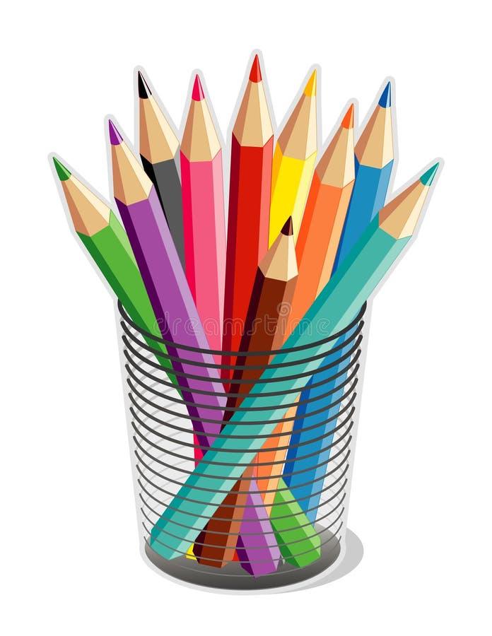 Cuvette de crayons colorés (JPG+EP illustration de vecteur