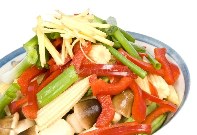 Cuvette de légumes de friture de Stir image stock