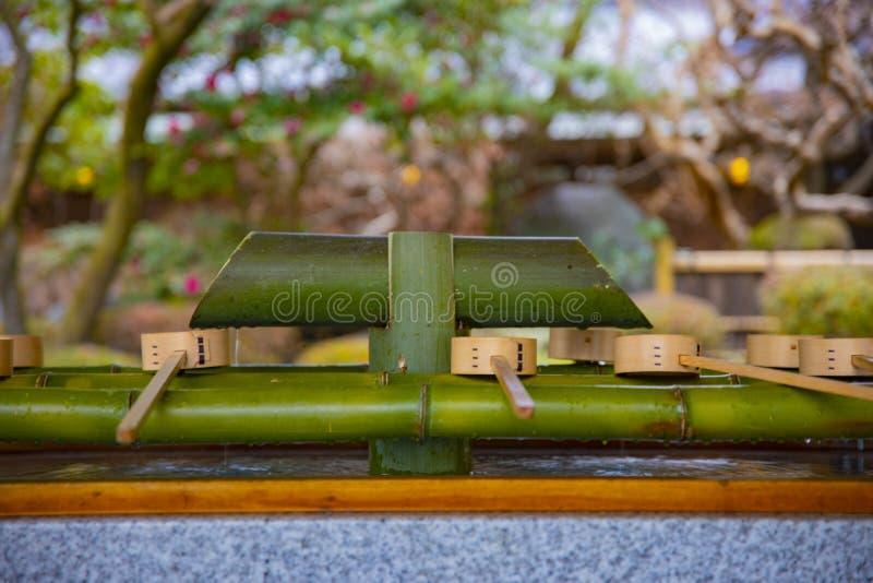 Cuvette de purification au tombeau de hachiman d'Oomiya ? Tokyo photo libre de droits